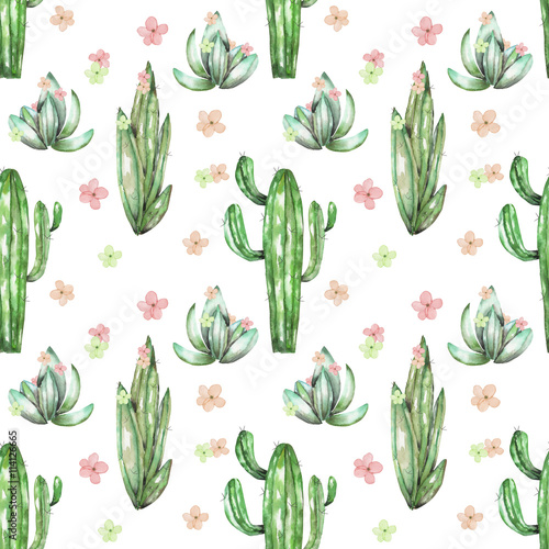 A seamless pattern with the watercolor various kinds of cactuses and flowers, hand drawn on a white background - 114126665