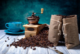 Fototapety Jute bags with coffee beans and grinder
