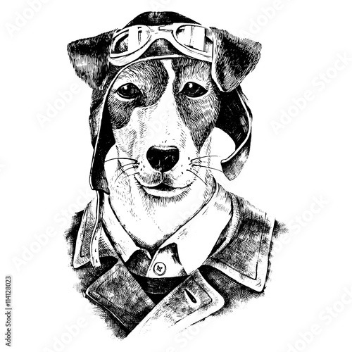 Hand drawn dressed up dog aviator - 114128023