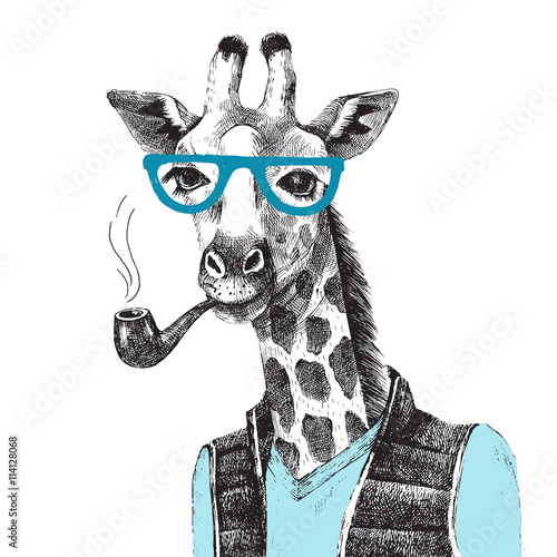 Hand drawn Illustration of giraffe hipster - 114128068