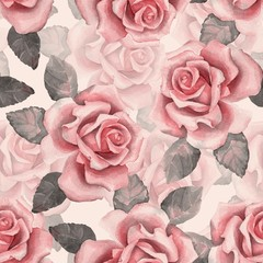 Beautiful buds. Watercolor roses pattern 7. Seamless background