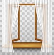 Wooden window frame with curtains on a transparent background. V - 114133847