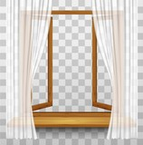 Wooden window frame with curtains on a transparent background. V