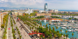 Aerial panoramic view over Passeig de Colom or Columbus avenue, La Barceloneta and Port Vell marina from Christopher Columbus monument in Barcelona, Catalonia, Spain