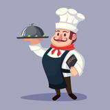 Funny cartoon Chief cook character with delicious dish