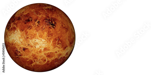 Tuinposter Nasa 3D render the planet Venus on a white background, high resolution.