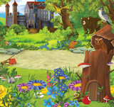 Cartoon nature scene with old tree house in the forest and castle in he background - illustration for the children