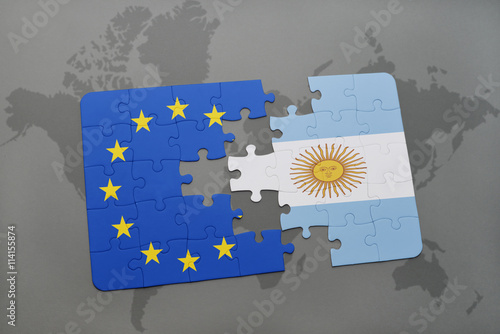 Keuken foto achterwand Buenos Aires puzzle with the national flag of argentina and european union on a world map