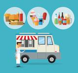 Delicius food. Truck icon. Delivery concept. graphic vector