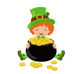 Leprechaun with treasure pot