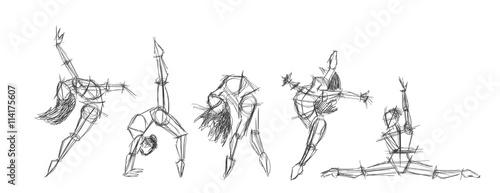 Set silhouettes of woman dancing line art. Dancing woman lineart sketch