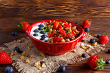 Homemade granola Breakfast with yogurt and fresh fruit berries. concepts health food