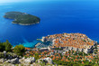Croatia. South Dalmatia. Aerial view of Dubrovnik, medieval walled city (it is on UNESCO World Heritage List since 1979) and Lokrum Island (nature reserve)
