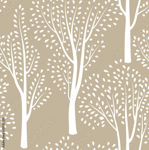 Nature seamless pattern. Forest tiled background. Tree ornamental pattern - 114185808