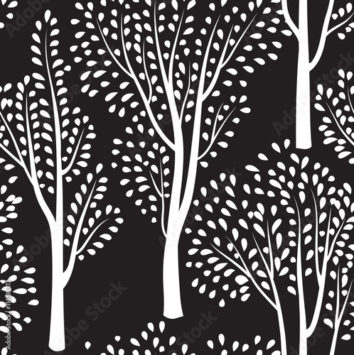 Nature tree seamless pattern. Forest background. - 114185817