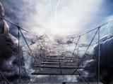Renderowanie 3D niestabilnego mostu podczas burzy z piorunami