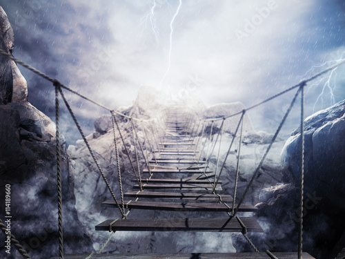 Zdjęcia na płótnie, fototapety na wymiar, obrazy na ścianę : 3D Rendering unstable bridge during a thunderstorm