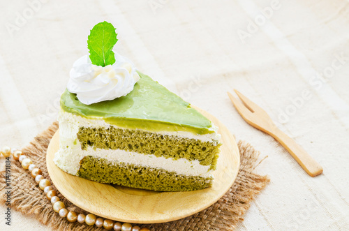 fototapeta na ścianę Japanese Matcha Green tea cake
