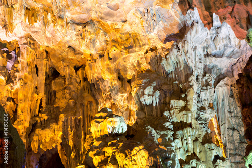 Colorful Stalactite Thien Cung cave in Ha Long Bay Vietnam