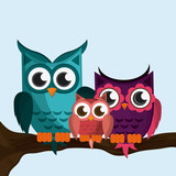 Owl family, vector illustration