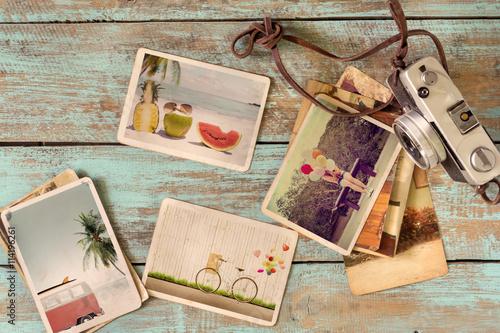 Photo album of journey honeymoon trip in summer on wood table
