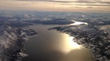 Aerial view on the Ofotfjord in Nordland Norway during winter.