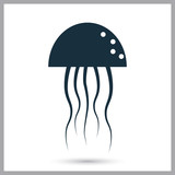 Jellyfish icon on the background