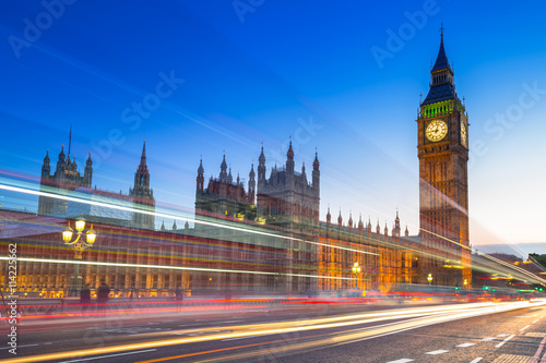 Fototapety, obrazy : Big Ben and Palace of Westminster in London at night, UK