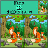Children games: Find differences. Mother fox sits with her little cute baby