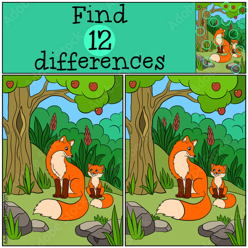 Fotobehang Zoo Children games: Find differences. Mother fox sits with her little cute baby