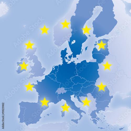 Fototapeta Europa Karte nach Brexit mit EU-Ländern und Sternen