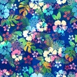 Cotton fabric Hawaiian tropical floral seamless pattern with hibiscus flowers.