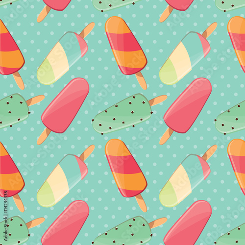 Cotton fabric Ice cream seamless pattern, colorful summer background, deliciou