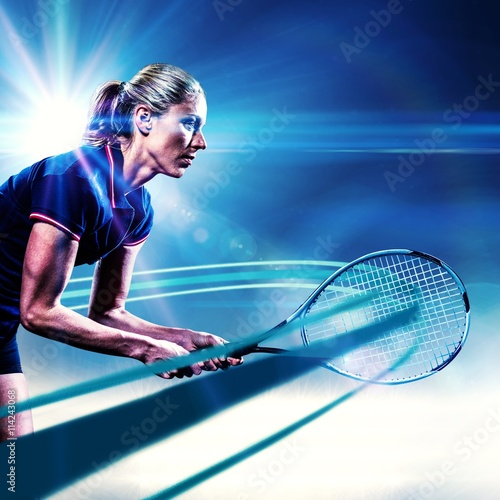 Plakát Composite image of tennis player playing tennis with a racket