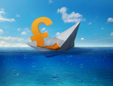 Pound sinking in sea symbol of future UK economy depression recession economic downturns. Results of brexit polls.