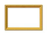Goldener Vektor Bilderrahmen mit Reliefapplikationen isoliert auf weißem Hintergrund - 114244049