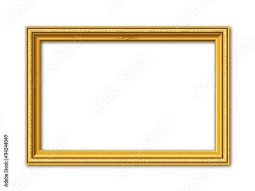 Goldener Vektor Bilderrahmen mit Reliefapplikationen isoliert auf weißem Hintergrund