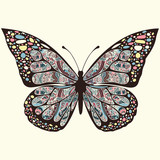 Butterfly with patterns. Wings  multicolored oriental ornaments in style boho, ethnic design, hippie , arabesque, bohemian. Embroidered openwork exotic Insect. Hand drawing vector graphic