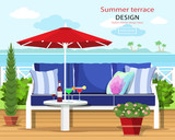 Colorful graphic summer terrace by the sea. Couch and umbrella on the balcony with the sea landscape. Flat style vector illustration.