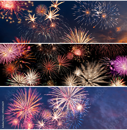 Poster Fireworks for New Year and Independence Day