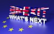 The text simboliese GB leaving EU. Text written Brexit What's next. 3D rendering.