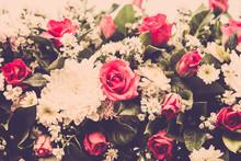 Bouquet of wedding roses flower. Retro filter