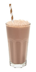 chocolate milkshake in a tall glass isolated