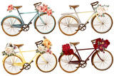 Cute vector set for invitation with bicycles and flowers