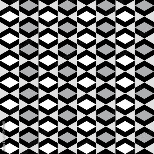 Fototapeta Geometric pattern with alternate white grey and black rhombus