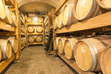 winery, wine , bottles, barrels wooden