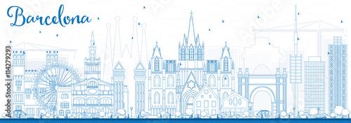 Outline Barcelona Skyline with Blue Buildings.