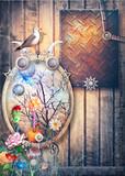 Composizione steampunk con cornice gotica,paesaggio fiabesco