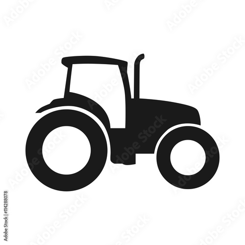 Poster Tractor vector icon. Pictogram tractor, side view
