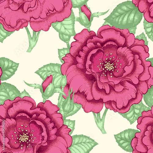 Zdjęcia na płótnie, fototapety, obrazy : Seamless pattern with roses.
